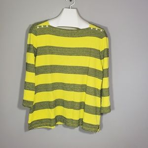 Talbots yellow and black top size XL